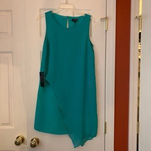 Turquoise Shift Dress with Asymmetrical Overlay